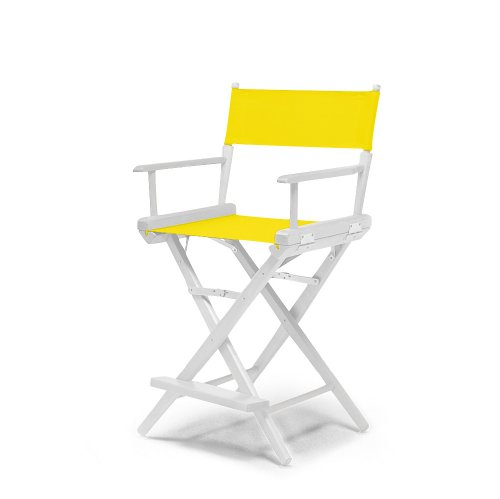 Telescope Casual World Famous Counter Height Director Chair, Canary with White Frame