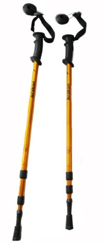 Arakan 3 Section Adjustable Hiking / Snowshoeing Poles - Gold Color