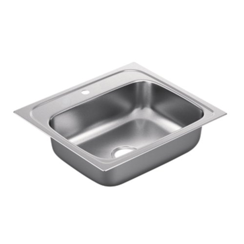 Moen G221961 2200 Series Single Bowl Drop-In Sink, 22-Gauge, Stainless Steel