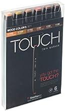 Shin Han  Touch Twin 6 Marker Pen Set  Wood Colors