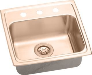 Elkao|#Elkay LRAD1918500-CU Elkay 18 Gauge Cuverro Antimicrobial copper 19 Inch x 18 Inch x 5 Inch single Bowl Top Mount Sink,