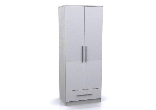 Toronto Caspian White High Gloss Combi Wardrobe - 2 Door 1 Drawer