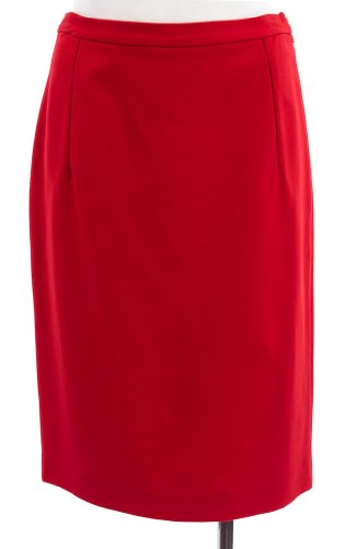 Diane von Furstenberg Cherry Red Knit 'Kimmie' Kangaroo Pocket Pencil Skirt 8 Image