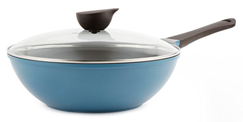 Wok (Chef's Pan) with Glass Lid - 12-inch Ceramic Nonstick in Deep Blue by Neoflam