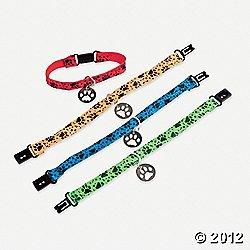 "12 PUPPY PAW Collar Friendship BRACELETS/Kitten/CAT/DOG/Paw Print PARTY FAVORS/Assorted Colors 7""/DOZEN/TOYS/Birthday"