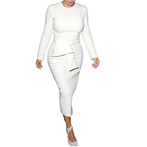 Women Casual Stretchy O-Neck Long Sleeve Fold Slim Pencil Dress,White,Medium