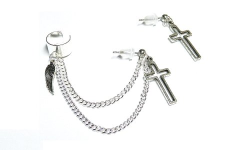 Wing N Cross Chain Ear Cuff Set Handmade