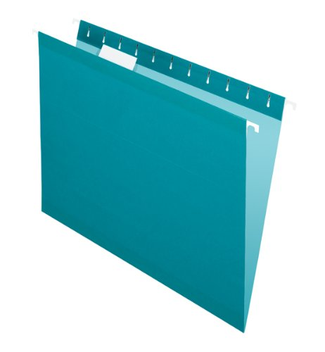 Pendaflex  Hanging Folder,Teal, 1/5 Tab, Letter, 25 Box, 4152 1/5 Tea