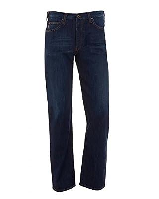 Armani Jeans Mens J21 Jean, Dark Blue Straight Leg Stretch Denim