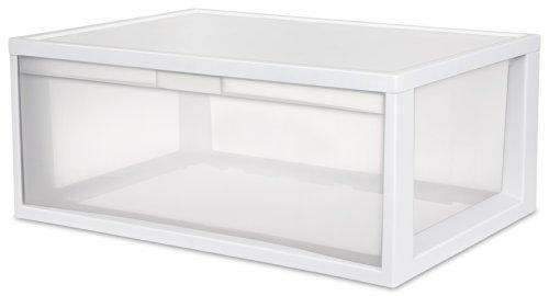 Sterilite 23758003 Large Tall Modular Drawer Frame, White, 3-Pack