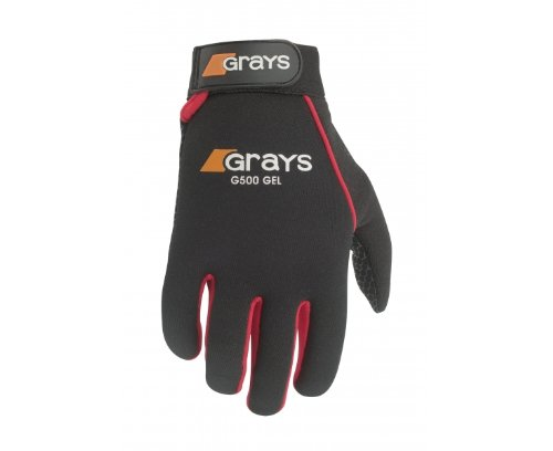 Grays G500 Gel Hockey Gloves (Black/Red,Medium)