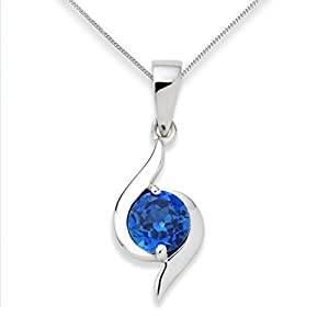 Miore Sapphire Necklace, 9ct White Gold, Created Sapphire Pendant, 45cm Chain, UNI004P2W by Miore