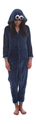 Funzoo Cookie Monster Party Costume Adult Onesie Non Footed Pajamas M-XL