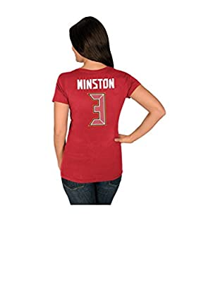 NFL Tampa Bay Buccaneers Jameis Winston 3 Women's Her Highlight Player Program Short Sleeve Deep Crew Neck Tee