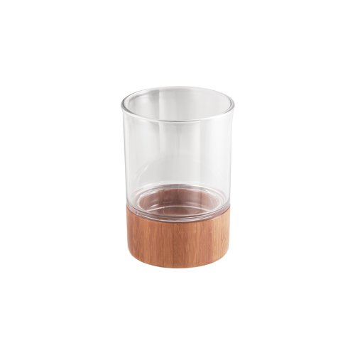 InterDesign Formbu Tumbler, Natural Bamboo/Clear