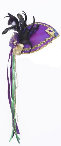 Forum Mardi Gras Costume Mini Glamour Hat With Feathers and Ribbon