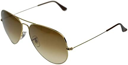 Ray-Ban RB3025 Aviator Large Metal Aviator Sunglasses, Brown