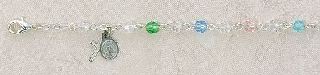 Multi-Color Tin Cut Pewter Baby 3MM Rosary Bracelet 4-1/2