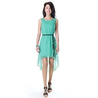 Miocelli damen vokuhila kleid minikleid chiffon 34 t rkis bekleidung - Vokuhila kleid chiffon ...