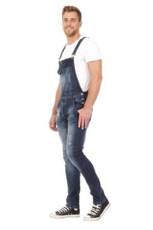 Herren-Latzhose-Slim-Fit-Overalls-fr-Mnner-Abnutzungseffekt