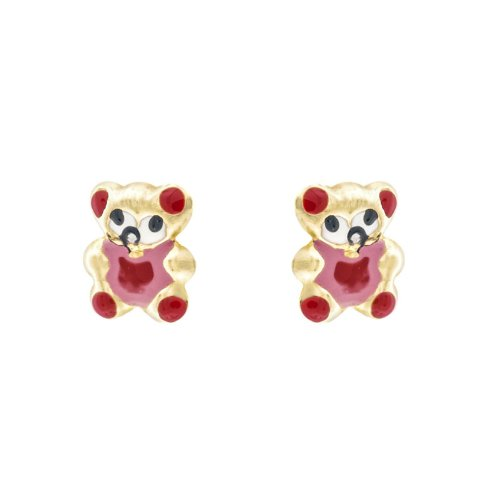 14k Gold Baby Earrings with Red Enamel