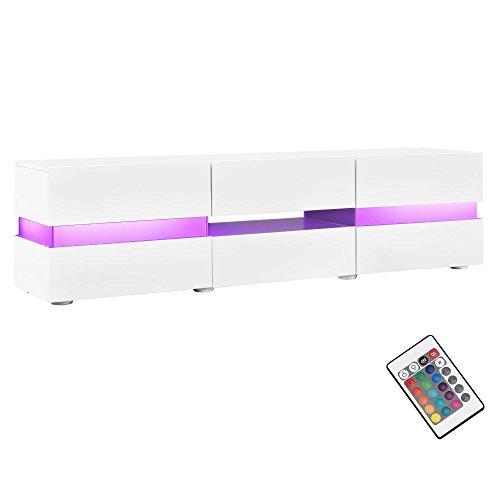 neuhaus-Sideboard-TV-Mbel-wei-Hochglanz-Lack-Lowboard-Fernsehtisch-mit-LED-Licht-TV-Schrank-fr-Flachbildschirme-HiFi-Rack-mit-Schubladen