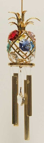 24K Gold Plated Wind Chime Sun Catcher Or Ornament..... Pineapple With Mixed Color Swarovski Austrian Crystal front-753697