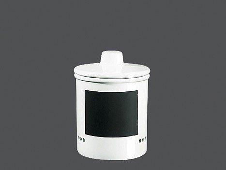 50719147 Zwiebeltopf Keramik, 14 x 14 x 15 cm, weiß / schwarz