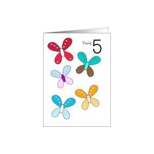 Amazon.com: 5 Year Old Birthday Card - Butterflies Card