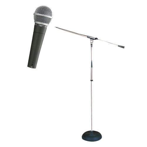 Pyle Mic And Stand Package - Pdmic58 Professional Moving Coil Dynamic Handheld Microphone - Pmks9 Heavy Duty Compact Base Boom Microphone Stand