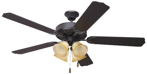 Yosemite Home Decor 5Bd52Vb-4 52-Inch Builder Ceiling Fan With Light Kit And Black/Walnut Blades, Venetian Bronze front-639546