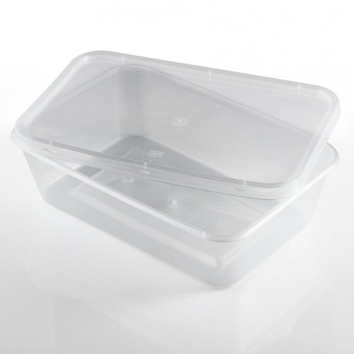 Thali Outlet Leeds Set di 50 contenitori alimentari rettangolari da 650 ml, in plastica trasparente, adatti per microonde, freezer, cibi da asporto, alimenti caldi e freddi