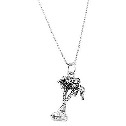 Silver Three Dimensional California Palm Springs Palm Tree Necklace