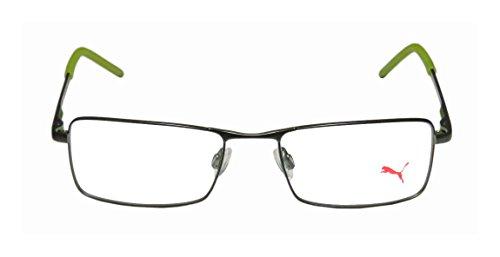 puma-15381-mens-womens-rectangular-full-rim-eyeglasses-spectacles-51-18-140-khaki-lime