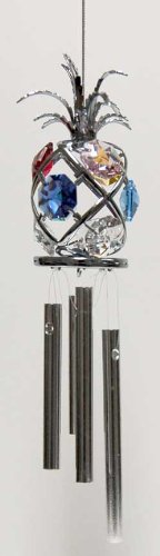 Chrome Plated Wind Chime Sun Catcher or Ornament..... Pineapple with Mixed Color Swarovski Austrian Crystal