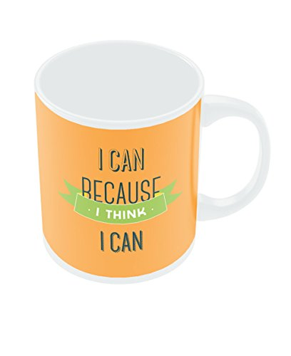 PosterGuy I Can Because I Think I Can Orange Typography Motivational Inspirational Ceramic Coffee Mug