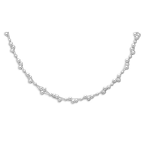 Sterling Silver 14 + 3 Inch Extension 3 Strand Necklace with 3mm and 4mm Beads