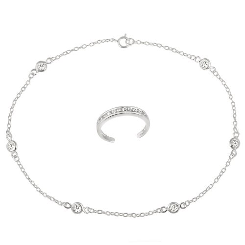 Sterling Silver Cubic Zirconia Toe Ring and Chain Anklet with Cubic Zirconia Stations, 10