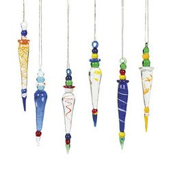 #!Cheap 12 Beautiful Multicolor GLASS ICICLE Christmas Ornaments/HOLIDAY Tree DECOR/Dozen/GIFT/DECORATIONS