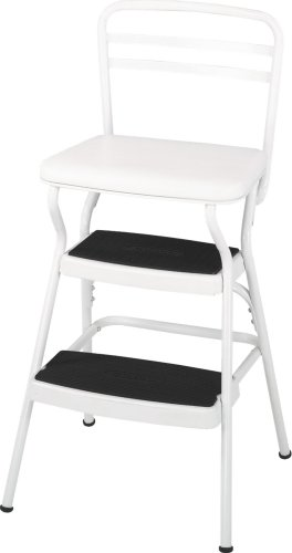 Cosco White Retro Counter Chair / Step Stool with Lift-up Seat, White