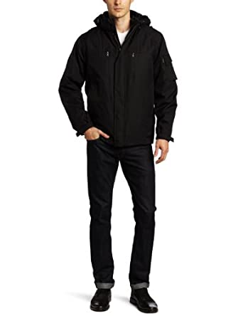Calvin Klein Men's Rip Stop 3 In 1 Systems Jacket, Black, Small