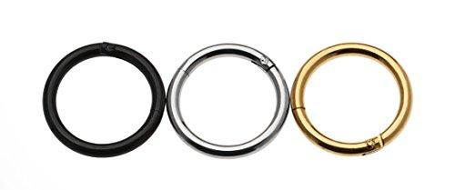 Cocorina-Set di 3 anelli setto naso, calibro 16, 5/(16 40,64 cm in acciaio INOX, 8 mm, colore: nero, Oro & colore: argento