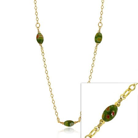 24K GOLD vermeil MURANO Flower glass BEAD NECKLACE 20