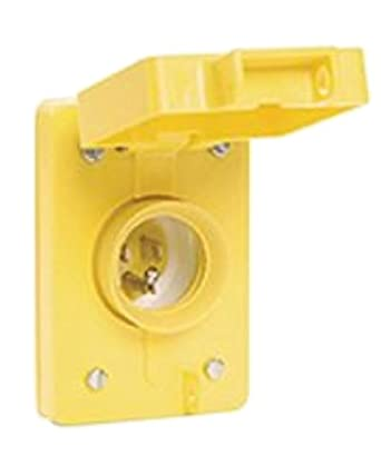 Woodhead 59W47 Watertite Wet Location Straight Blade Receptacle, Male, Single Flip Lid, 3 Wires, 2 Poles, NEMA 5-15 Configuration, Yellow, 15A Current, 125V Voltage, 3ft Cord Length