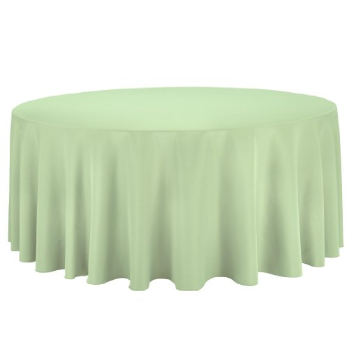Linentablecloth Round Polyester Tablecloth, 132-Inch, Reseda front-451984