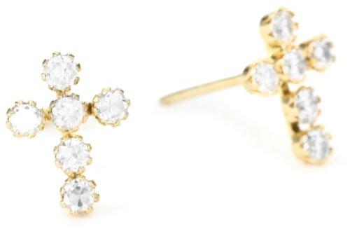 Jewelry Of Faith Girl's 14k Gold Cubic Zirconia Cross Earrings