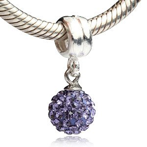 Purple Cz Ball Dangle February Birthstone Authentic 925 Sterling Silver Bead Fits Pandora Chamilia Biagi Troll Charms Europen Style Bracelets