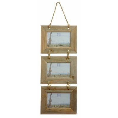 """Chic & Shabby Rustic Natural Wooden Triple Three 3 Hanging Photo Frame 6X4"""""""