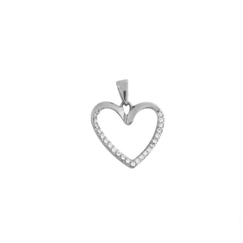 Ladies Sterling Silver Heart Pendant with White CZ and Free Silver Chain