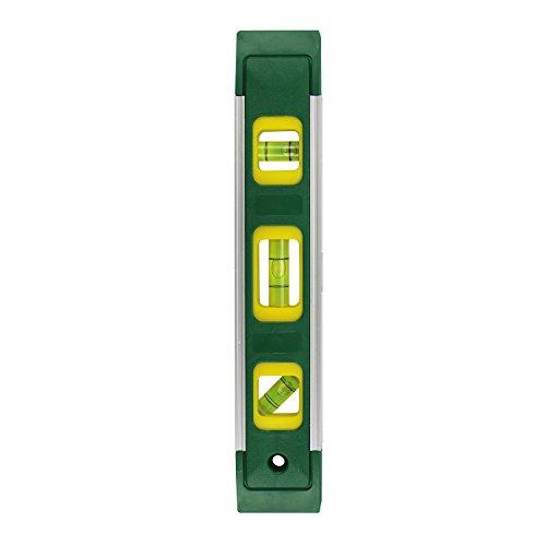 Magnet-Wasserwaage-GRAD-23-cm-klein-mit-3-Libellen-fr-den-Hausgebrauch-Stofeste-Richt-Waage-mit-Aluminium-Kanten-Magnet-Streifen-zur-Befestigung-auf-magnetischen-Oberflchen-Grn